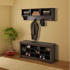 Prepac Shoe Storage Cubbie Bench & Entryway Shelf In Espresso -