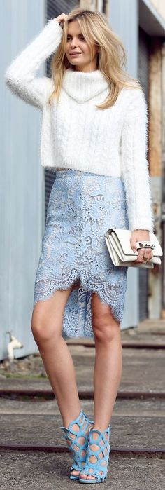 Lover Baby Blue Lace Pencil High And Low Skirt by Tuula