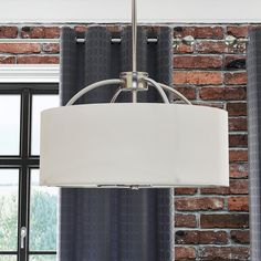 Every ensemble can use a pick me up now and again, and this lovely luminary is the perfect way to do it. The Kelli 3 Light Pendant is framed by a chrome-finished base and features a classic whit Ceiling Fixtures, Light Fixtures, Ceiling Lights, 3 Light Pendant, Drum Pendant, Drum Shade Chandelier, Glow Effect, Farmhouse Lighting, Diffused Light
