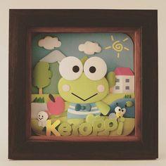 Keroppi @_@  #sanrio #keroppi #kero #cartoon #custom #handmade #gift #illustration #illustrator #paperart  #paperartist #papercut #papercrafting #custompapercut #folding #papercraft #handcut #instaart #hobby #cute #kawaii #greetingcard #art #decor #walldecoration