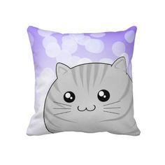 Cute Kawaii grey tabby kitty cat Throw Pillows