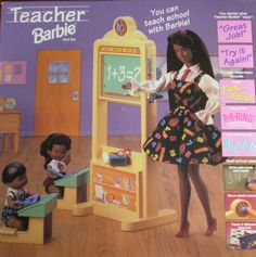 Barbie TEACHER with students Playset NO PANTIES African American AA