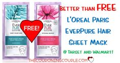 WOOHOO! A FREEBIE from Target or Walmart! Get a BETTER THAN FREE L'Oreal Paris EverPure Hair Sheet Mask! Print your coupon now!  Click the link below to get all of the details ► http://www.thecouponingcouple.com/loreal-paris-everpure-hair-sheet-mask/ #Coupons #Couponing #CouponCommunity  Visit us at http://www.thecouponingcouple.com for more great posts!