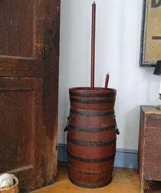 29in tall (35in tall top of dasher) Early Primitive Butterchurn Pennsylvania Original Red Paint The Best! #NaivePrimitive