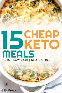 You can do keto on a budget! These cheap keto meals will give you the inspiration to create inexpensive low carb dinners in no time. Keto doesn't need to be expensive. Check out these cheap keto meals that will help you lose your fat, not your money! Ketogenic Recipes, Diet Recipes, Keto Foods, No Carb Dinner Recipes, Dessert Recipes, Cooking Recipes, Lunch Recipes, Keto Diet Meals, Easy Keto Recipes