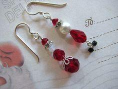 Santa Claus Earrings - Holiday Earrings Swarovski Crystals Rhinestones Pearls - $20.00 - Handmade Crafts by HappyEverything