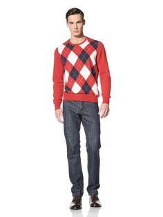 76% OFF Gran Sasso Men\'s Argyle Sweater (Red)