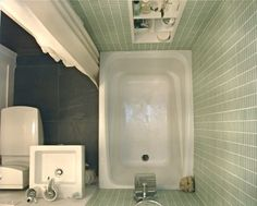 """Apartment Therapy_Small Cool 2009: Dehlia's Calm, Cool & Collected """"The shower is tiled in seaglass, the floor is natural slate...""""  4'x6' my dream bathroom"""