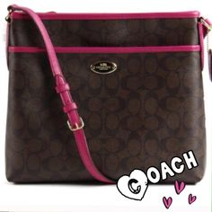 """✨COACH signature file bag 100% AUTHENTIC COACH signature file bag in brown and pink.  Inside zip and multifunction pockets.  Measures approximately 12"""" (L) x 10 1/2"""" (H) x 2"""" (W). Zip top closure, pink fabric lining, golden hardware.  Brand new with tags.  Coach gift box included.  Bundle with matching wristlet in my closet for extra discount. Coach Bags"""
