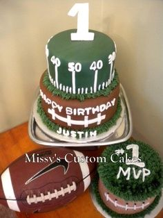 Football cake Football sheet cake for a young boys birthday