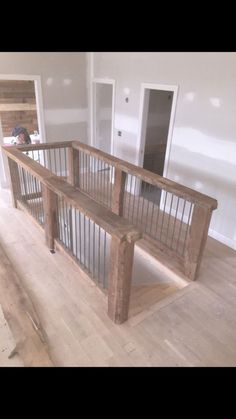 Building Link 736057132822346071 - Reclaimed wood banisters with reclaimed steel rerod balusters Source by Loft Railing, Staircase Railings, Banisters, Staircase Design, Rebar Railing, Railing Ideas, Banister Remodel, Open Staircase, Open Basement Stairs