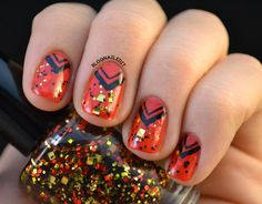 Glitter and Nail Art: Day 2 nails - love this look, but probably wouldn't do the glitter.