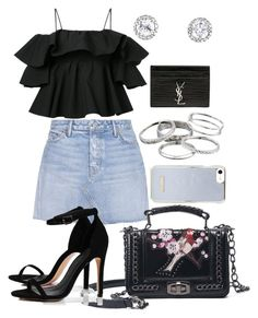 """Untitled #71"" by franciscanunes on Polyvore featuring GRLFRND, MSGM, Boohoo, Kendra Scott and Yves Saint Laurent"