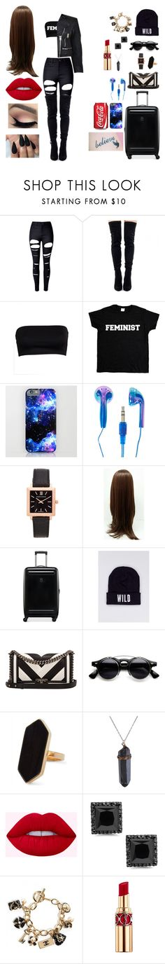 """""""Flying From Love"""" by dressah ❤ liked on Polyvore featuring WithChic, Larsson & Jennings, Victorinox Swiss Army, Wildfang, Chanel, Jaeger, Yves Saint Laurent, Burberry and girlpower"""