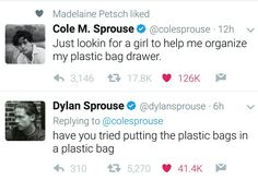 I love these two lollllllll Dylan O'brien, Dylan And Cole, Sprouse Bros, Dylan Sprouse, Funny Tweets, Funny Memes, Jokes, Phil Lester, Betty Cooper