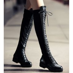 2015 Plus Size Punk Black Genuine Leather Thick Sole Creepers Flat... ❤ liked on Polyvore featuring shoes, boots, shoe's, flat boots, platform boots, black thigh high boots, biker boots and over the knee boots