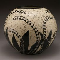 """""""Lilly of the Valley"""" large vase Porcelain with sgraffito by Jennifer Falter Springfield Pottery, Springfield, Mo."""