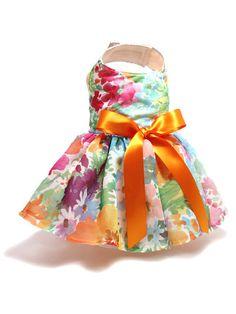 Multicolor Flower Print Chiffon Dog Dress size Small by MaxMilian, $27.00