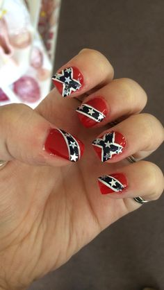 Flag nails nail decals and flags on pinterest my rebel flag nails i love them prinsesfo Gallery