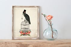The Raven 8x10  mixed Graphic Art Original Design  (304AOWD) Raven, Birdcage…