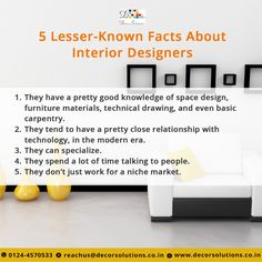 Amazing Facts In The World Of Interior Designers Decorsolutions Interiordesigner Fridayfact