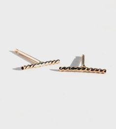 Gold Twist Earrings | These elegant 14k gold earrings each feature a 10 mm. twisted ... | Earrings