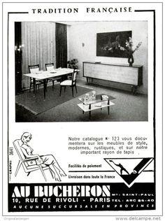 Original-Anzeige /Publicité 1957 - (en français) MEUBLES / AU BUCHERON - PARIS - ca. 90 x 120 mm