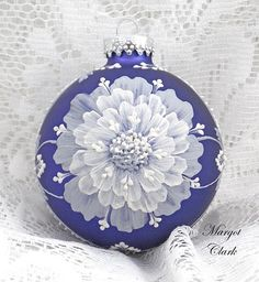 Dark Blue Textured Two-toned Floral Ornament 515