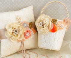 Flower Girl Basket and Ring Bearer Pillow Set in Ivory by SolBijou, $170.00