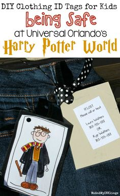 DIY Clothing Tags Just in Case My Kid Gets Lost at Universal Orlando - Laura Kelly's Inklings Harry Potter Outfits, Harry Potter Gifts, Crafts For Kids To Make, Craft Activities For Kids, Universal Harry Potter Orlando, Id Clothing, Harry Potter Funny Pictures, Diy Doll, Diy Clothes