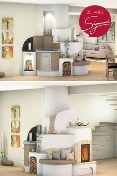 Ein Kachelofen als Hingucker im Wohnraum - mit Tischherd und Sitzbank #kachelofen #landhaus #wohnzimmer #tischherd Home, Fireplaces, Tiling, Banquette Bench, Kitchen Contemporary, Cottage Chic, Ad Home, Homes, Haus