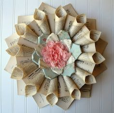 paper wreath using recycled sheet music