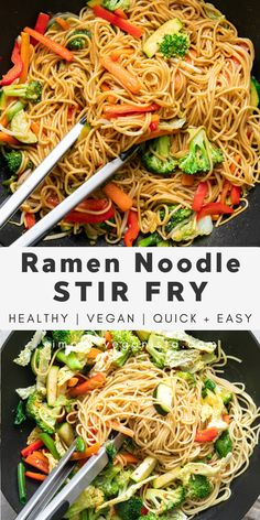 Veggie filled Ramen Noodle Stir Fry recipe is a quick and easy recipe perfect for those who want a hearty and healthy noodle dish in under 30 minutes! #wfpb #stirfry #healthyrecipes #veganrecipes #plantbased Vegetarian Ramen, Tasty Vegetarian Recipes, Vegan Recipes Easy, Easy Dinner Recipes, Whole Food Recipes, Vegetarian Stir Fry Noodles, Healthy Ramen Noodles, Veggie Noodle Stir Fry, Veggie Noodles