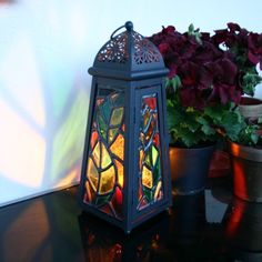 Stained Glass Leaded Light Lantern on Folksy