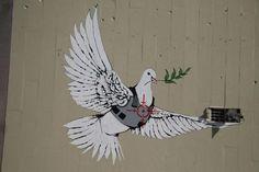 I think that everybody knows who is Banksy. I think that everybody knows who is Banksy. Banksy Graffiti, Street Art Banksy, Bansky, Graffiti Artists, Banksy Palestine, Banksy Images, Peace Dove, Art Van, Beautiful Streets