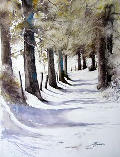 "https://www.facebook.com/MiaFeigelson ""Neige fraiche"" ""Fresh snow"" By Isabelle Fournier Perdirx, from Algiers, Algeria (current location, Caen, France) - watercolor - http://isabellefournierperdrix.blog4ever.com/"
