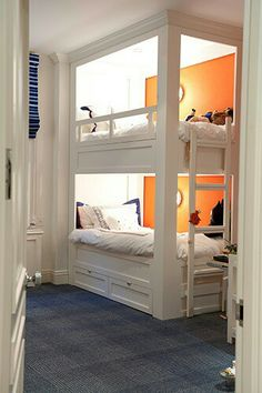 built in bunk beds with trim