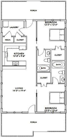 2 Bedroom Floor Plans, Small House Floor Plans, Cottage Floor Plans, Apartment Floor Plans, Barn House Plans, Cottage Plan, Shotgun House Plans, 30x40 House Plans, Home Design Floor Plans