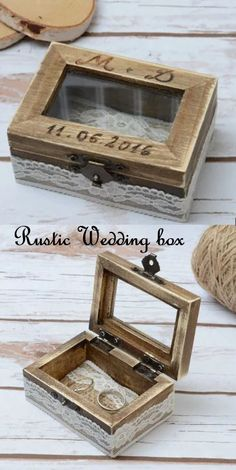 Personalized Ring Holder Rustic Wedding Ring Box, Wedding gift box #wedding #rustic #box #ad