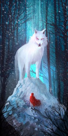 Little Red Hood, Alejandro Giraldo Vargas (Alejdark) Little Red Hood, Little Red Ridding Hood, Red Riding Hood, Wolf Painting, Big Bad Wolf, Illustrations, Whimsical Art, Werewolf, Fairy Tales