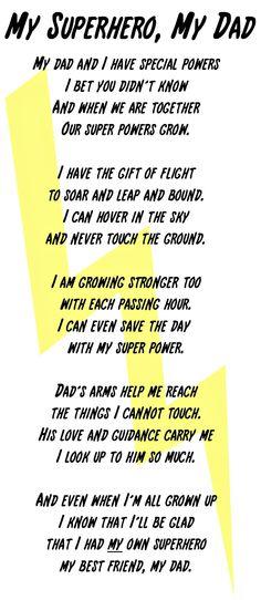 My Superhero, My Dad Poem and Printable