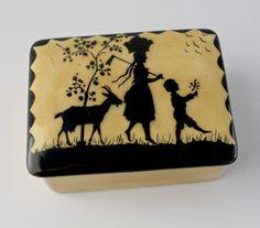 Antique Erphila Art Pottery Box w Beautiful Silhouette on Lid