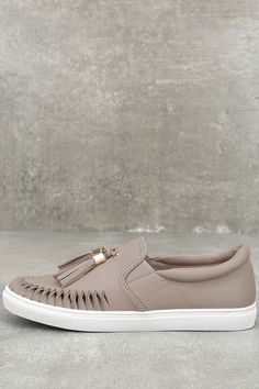 J Slides Cheyenne Nude Leather Slip-On Sneakers