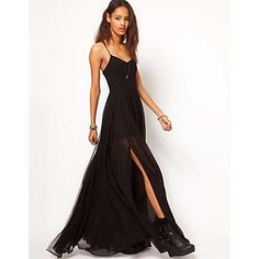 Vrouwen Sexy Grote Zwarte Strap backless lange jurk - EUR € 17.99