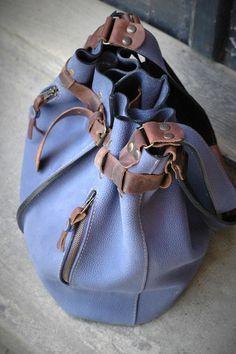 blue handmade leather handbag JENNY ladybuq art studio door ladybuq
