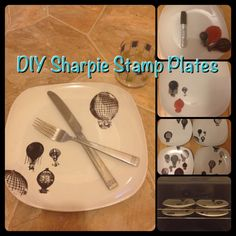DIY stamp plates- Dollar store plates, sharpie, stamp, then bake for 40 min @350
