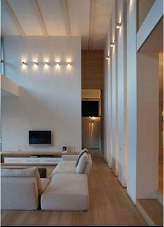 Beautiful Wall Lighting For High Ceilings Modern Lighting Design, Interior Lighting, Modern Interior Design, Interior Design Inspiration, Home Lighting, Lighting Ideas, Light Architecture, Interior Architecture, Home Living Room
