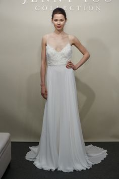 Flowy wedding dress with lace bodice + spaghetti straps from Jenny Yoo's Spring 2017 collection {Dan Lecca}