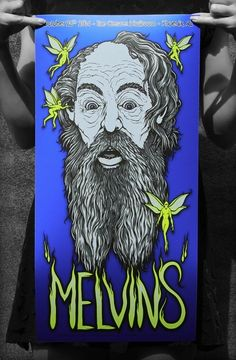 "The MELVINS @ the Crescent Ballroom, Phoenix AZ 25th Oct 2014 - COSMIC BLUE PLANET VARIANT By Gumballicious @ Gumball Designs - 12 x 24"" Ltd Ed 5 Color Screen Printed Gig Poster with Pearl White & Metallic Silver inks. ***NOW AVAILABLE*** http://www.gumballdesigns.net/STORE_FRONT.html"