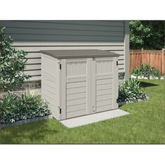 W x 4 ft. D Plastic Horizontal Garbage Shed Utility 4 ft. 4 in. W x 2 ft. 8 in. D Plastic Horizontal Garbage Shed Resin Storage, Shed Plans, Outdoor Decor, Storage Shed, Bin Store, Vertical Storage, Pallet Garden, Outdoor Living, Garbage Shed